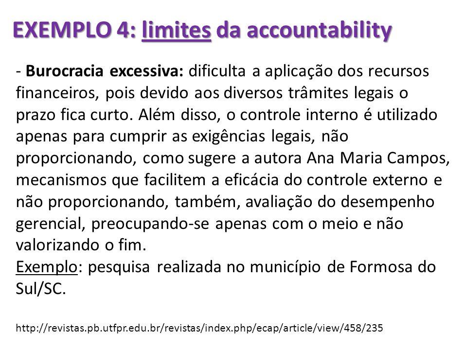 EXEMPLO 4: limites da accountability