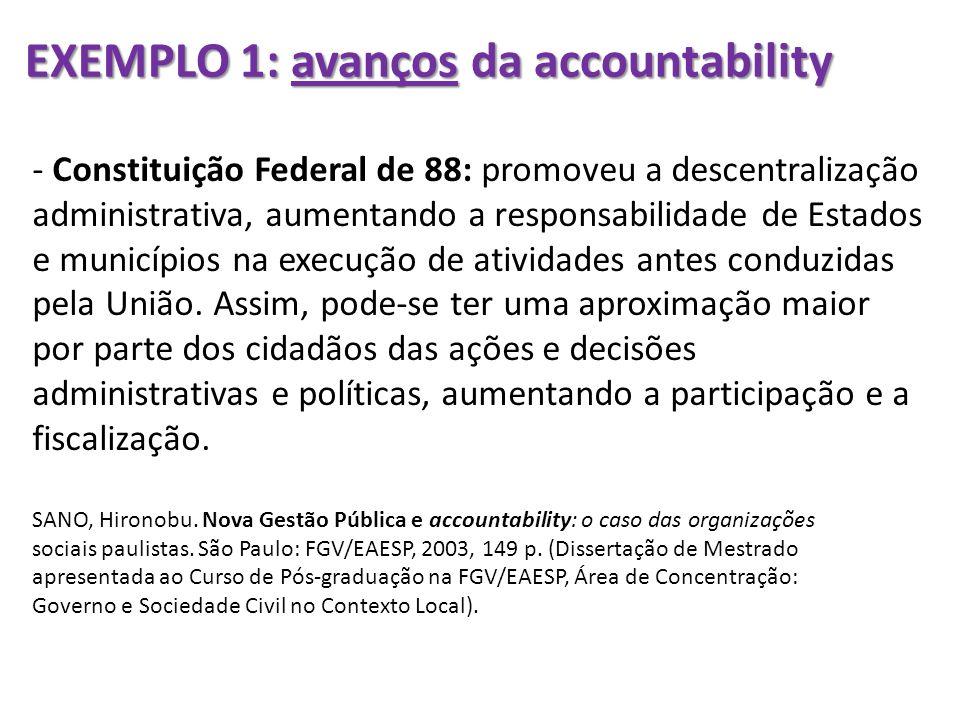 EXEMPLO 1: avanços da accountability