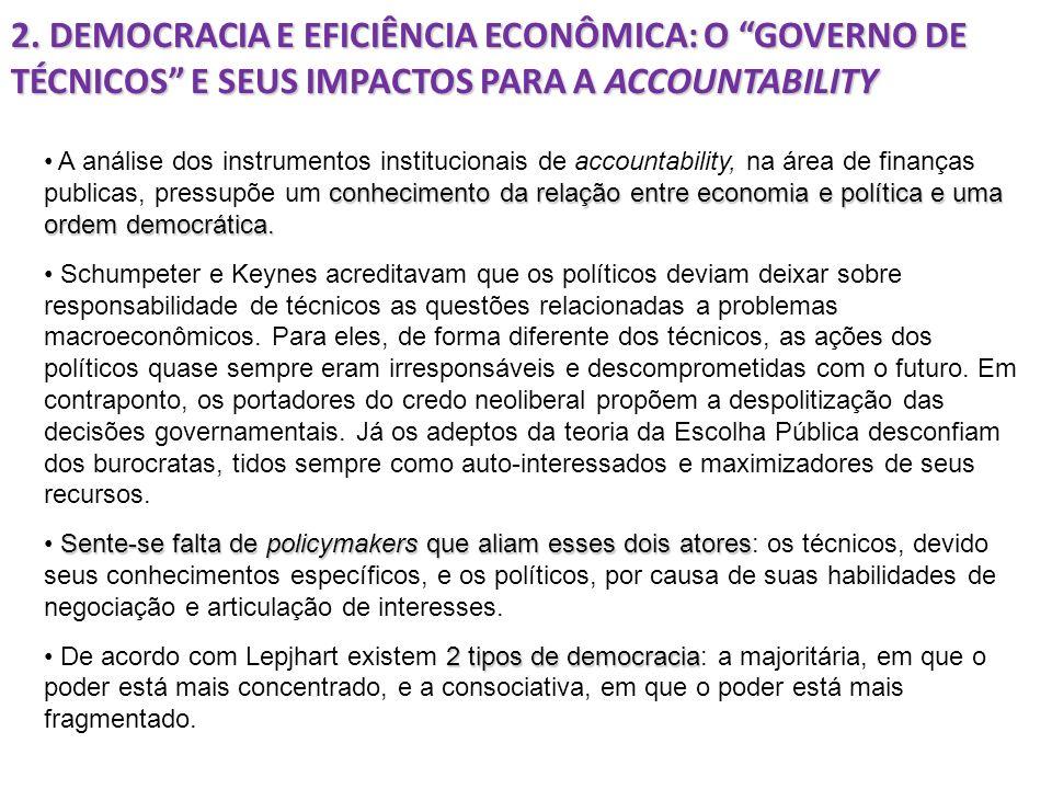 2. DEMOCRACIA E EFICIÊNCIA ECONÔMICA: O GOVERNO DE TÉCNICOS E SEUS IMPACTOS PARA A ACCOUNTABILITY