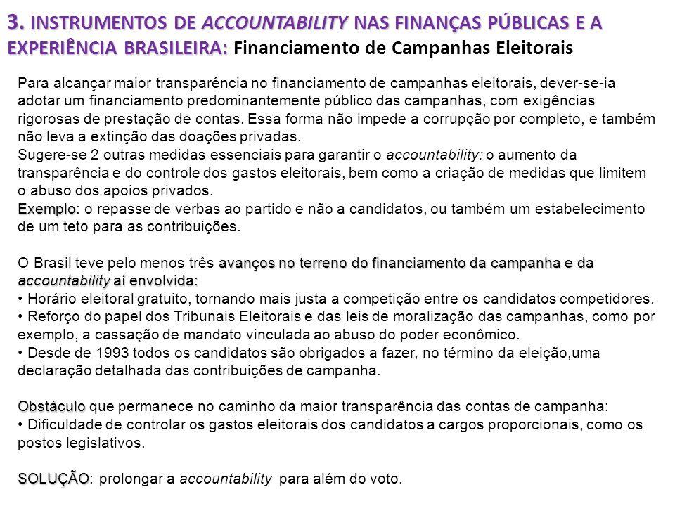 3. INSTRUMENTOS DE ACCOUNTABILITY NAS FINANÇAS PÚBLICAS E A EXPERIÊNCIA BRASILEIRA: Financiamento de Campanhas Eleitorais