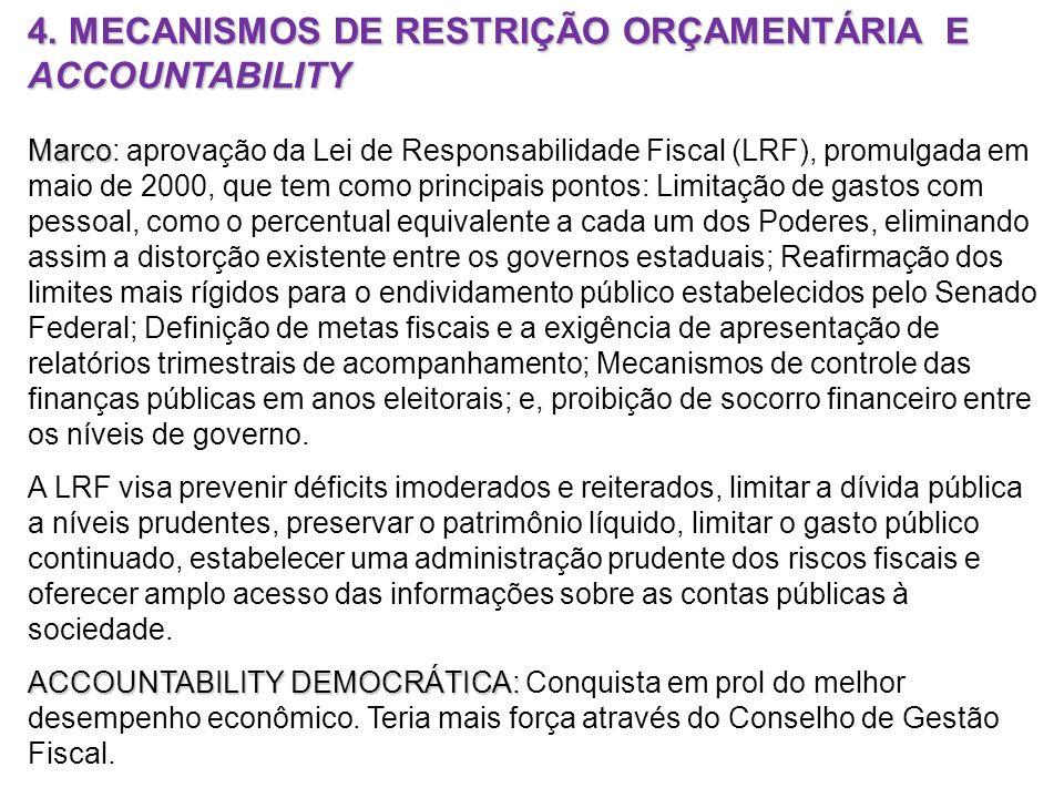 4. MECANISMOS DE RESTRIÇÃO ORÇAMENTÁRIA E ACCOUNTABILITY
