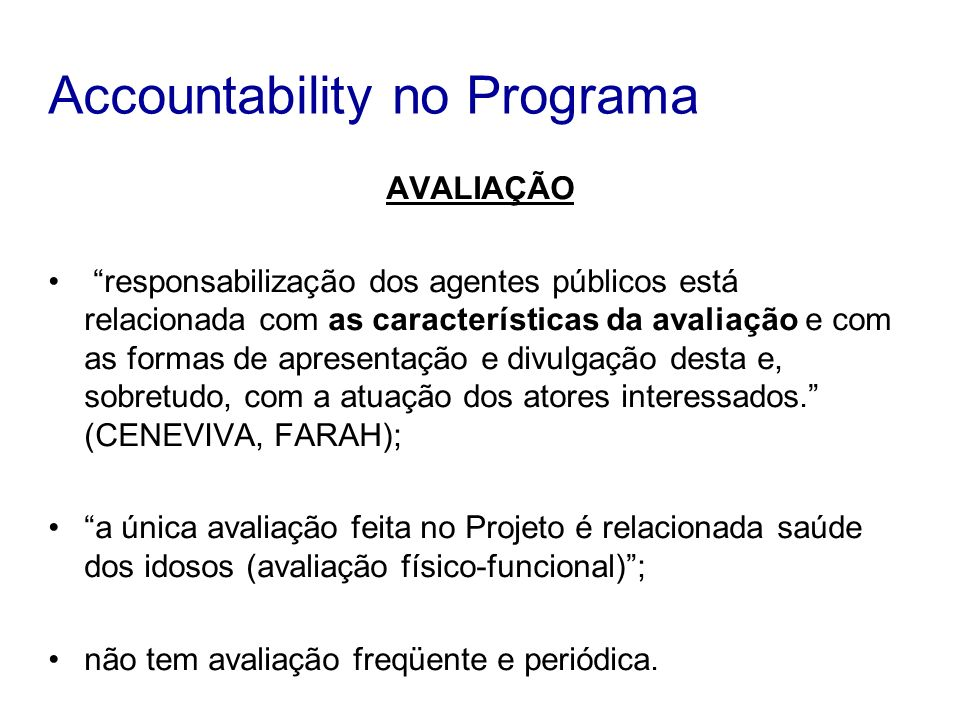 Accountability no Programa