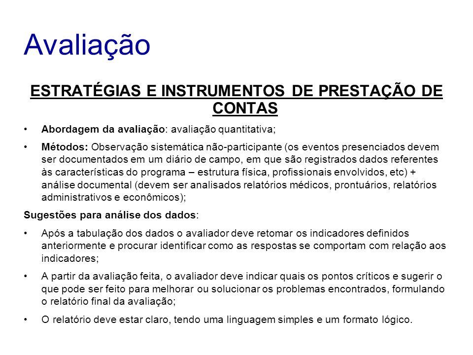 ESTRATÉGIAS E INSTRUMENTOS DE PRESTAÇÃO DE CONTAS