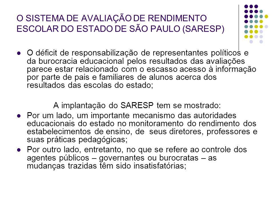 A implantação do SARESP tem se mostrado: