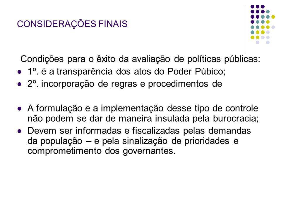 Condições para o êxito da avaliação de políticas públicas: