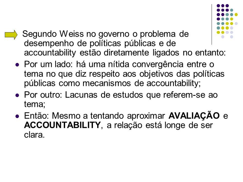 Segundo Weiss no governo o problema de desempenho de políticas públicas e de accountability estão diretamente ligados no entanto: