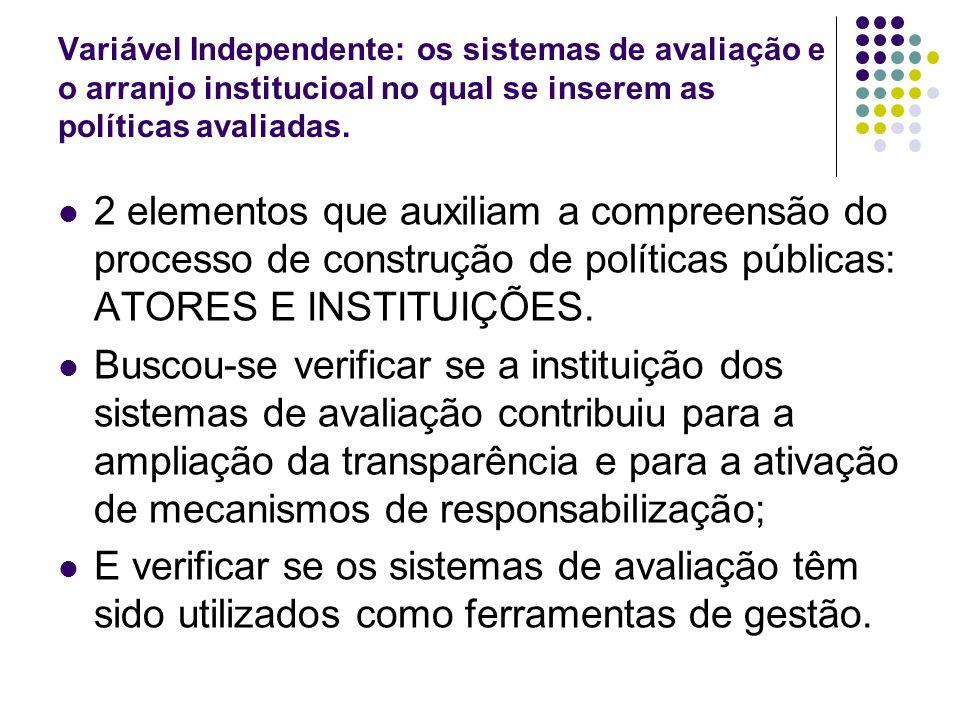 Variável Independente: os sistemas de avaliação e o arranjo institucioal no qual se inserem as políticas avaliadas.