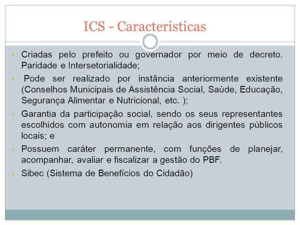 ICS - Caracteristicas Criadas pelo prefeito ou governador por meio de decreto. Paridade e Intersetorialidade;