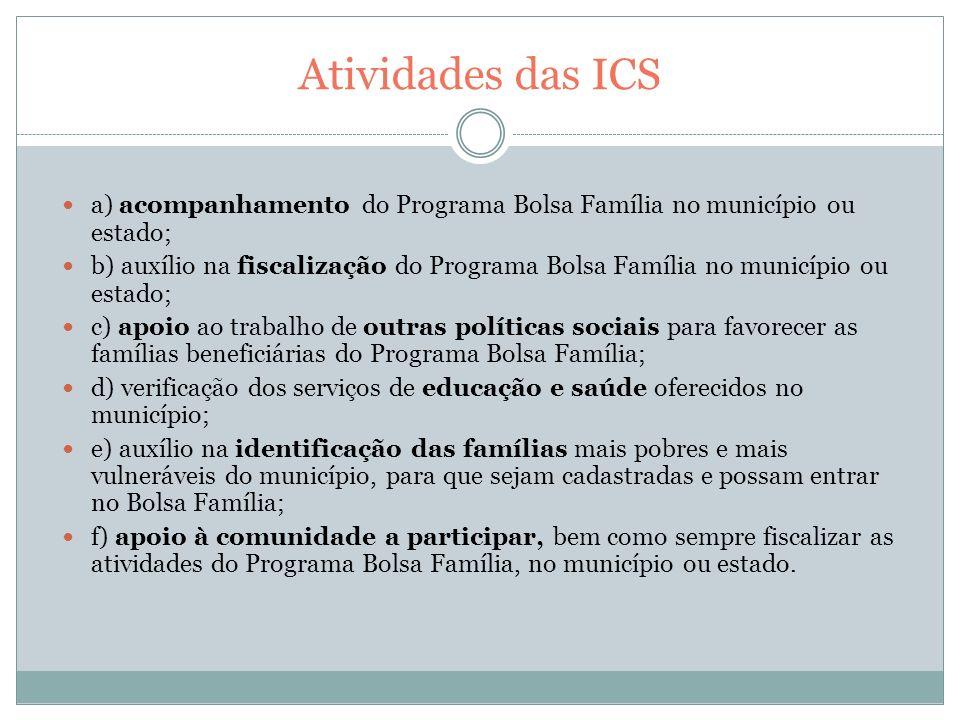 Atividades das ICS a) acompanhamento do Programa Bolsa Família no município ou estado;
