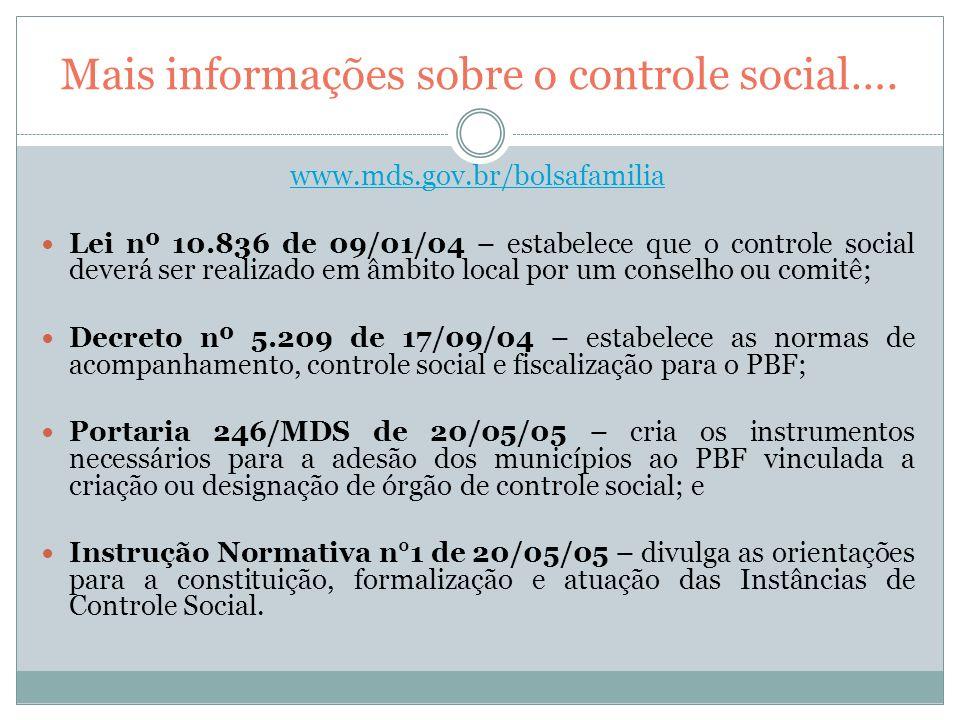 Mais informações sobre o controle social….