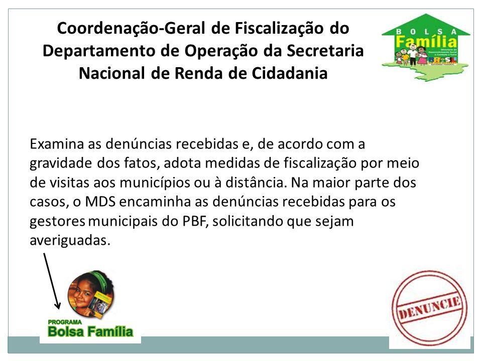 Coordenação-Geral de Fiscalização do Departamento de Operação da Secretaria Nacional de Renda de Cidadania
