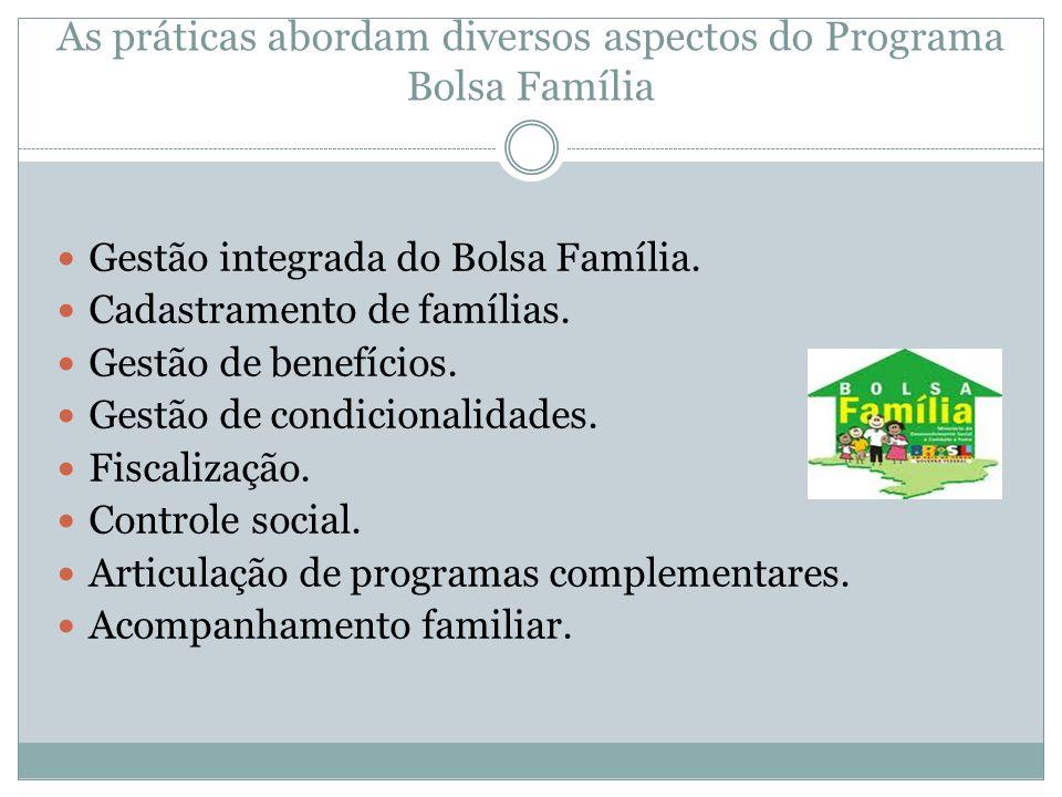 As práticas abordam diversos aspectos do Programa Bolsa Família