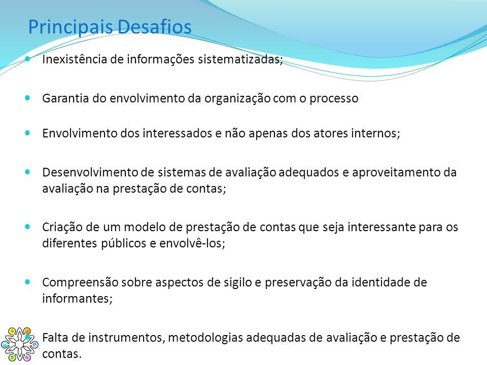Principais Desafios Inexistência de informações sistematizadas;