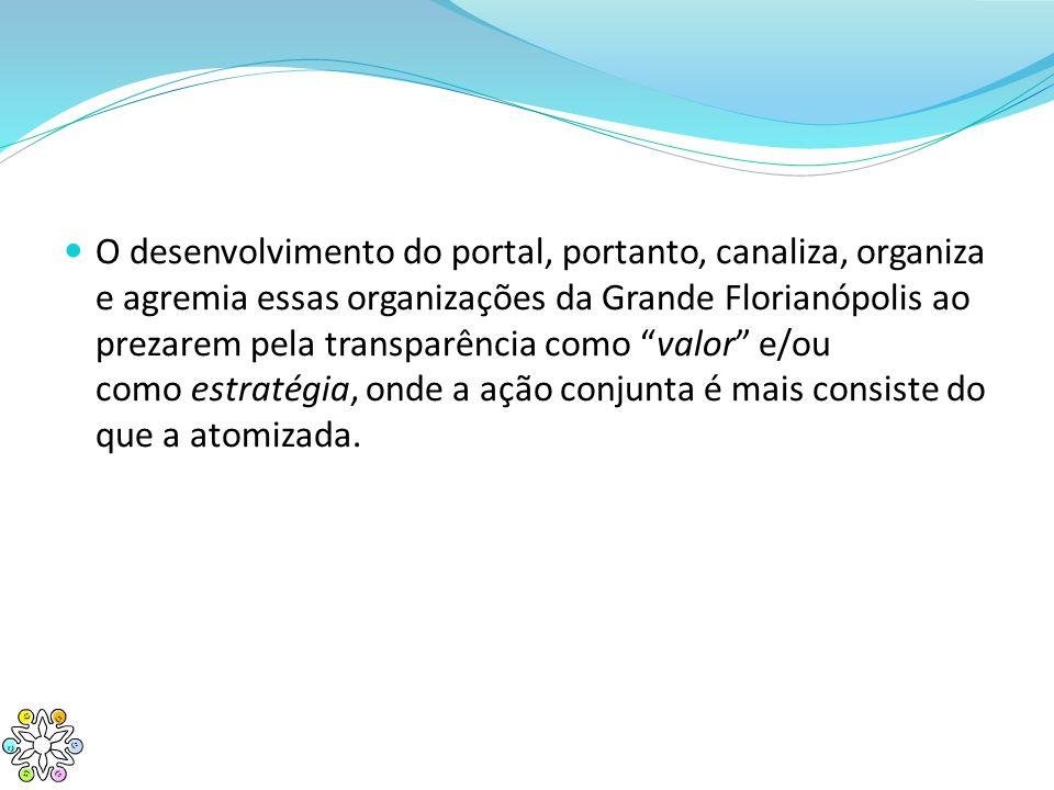 O desenvolvimento do portal, portanto, canaliza, organiza e agremia essas organizações da Grande Florianópolis ao prezarem pela transparência como valor e/ou como estratégia, onde a ação conjunta é mais consiste do que a atomizada.