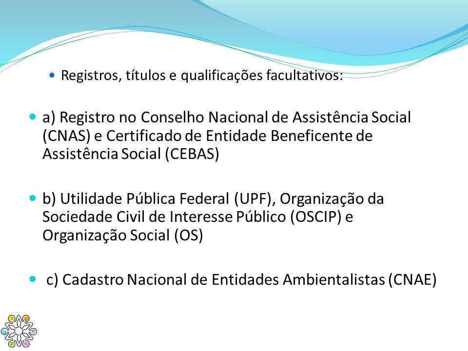 c) Cadastro Nacional de Entidades Ambientalistas (CNAE)