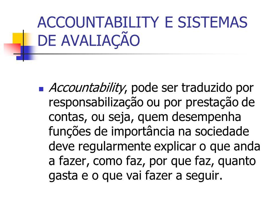 ACCOUNTABILITY E SISTEMAS DE AVALIAÇÃO