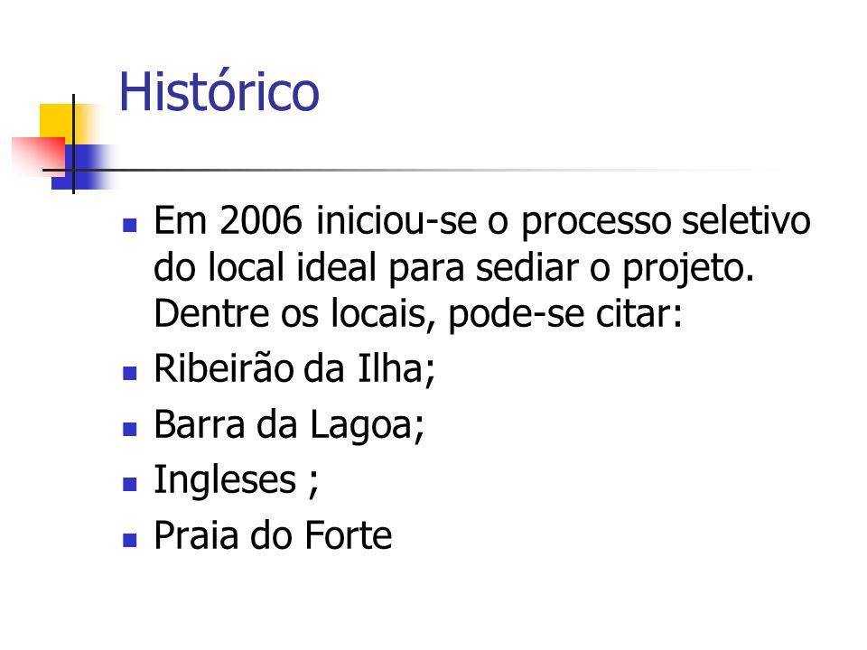 Histórico Em 2006 iniciou-se o processo seletivo do local ideal para sediar o projeto. Dentre os locais, pode-se citar: