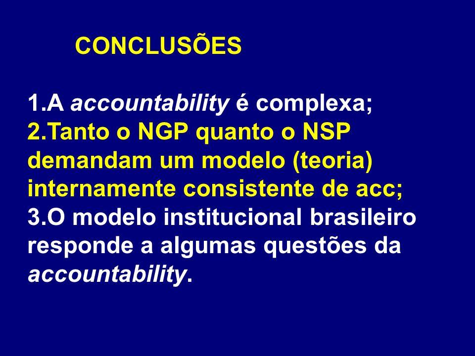 CONCLUSÕES A accountability é complexa; Tanto o NGP quanto o NSP demandam um modelo (teoria) internamente consistente de acc;