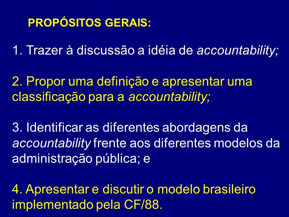 1. Trazer à discussão a idéia de accountability;