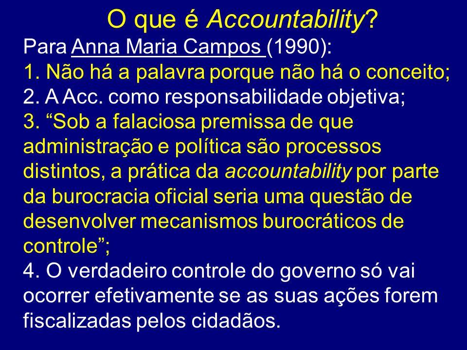 O que é Accountability Para Anna Maria Campos (1990):