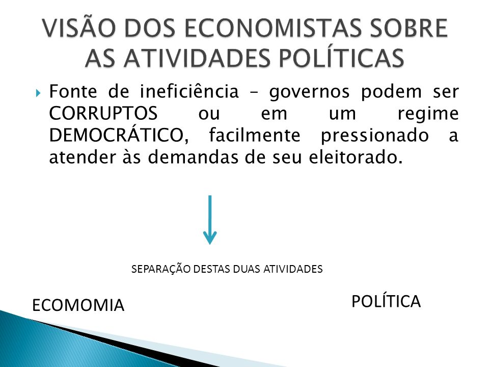 VISÃO DOS ECONOMISTAS SOBRE AS ATIVIDADES POLÍTICAS