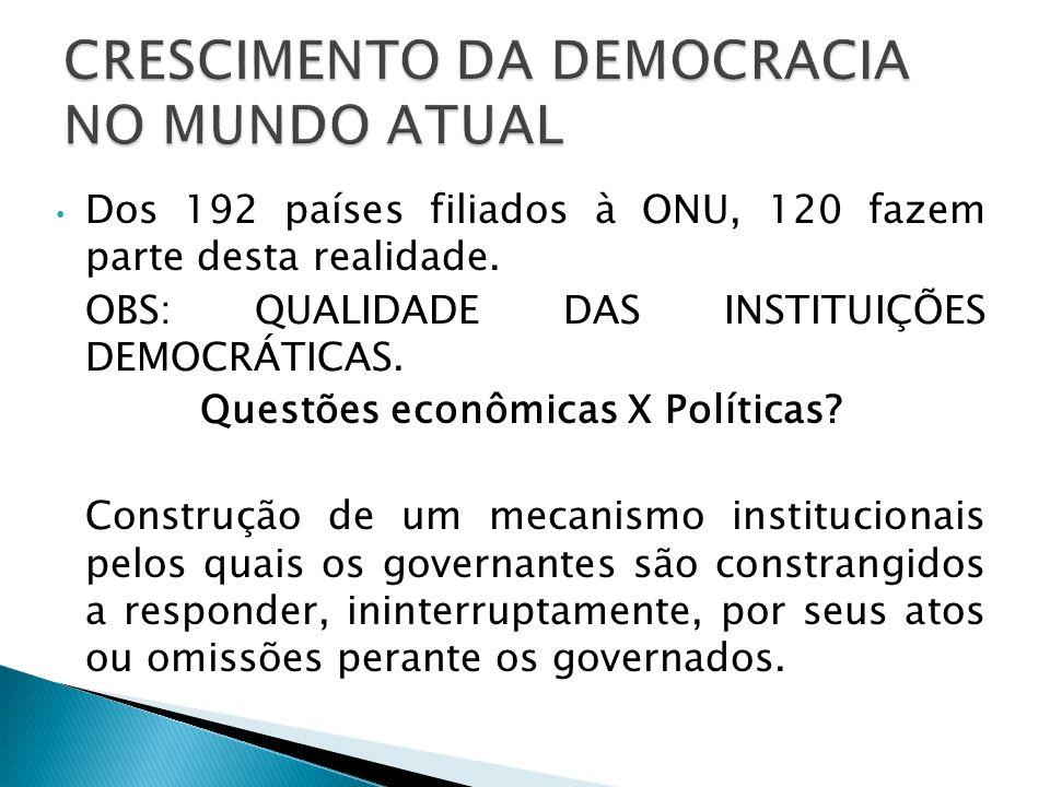 CRESCIMENTO DA DEMOCRACIA NO MUNDO ATUAL