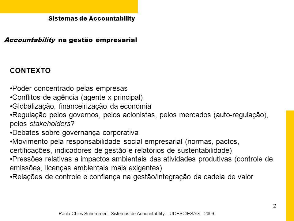 Paula Chies Schommer – Sistemas de Accountability – UDESC/ESAG – 2009