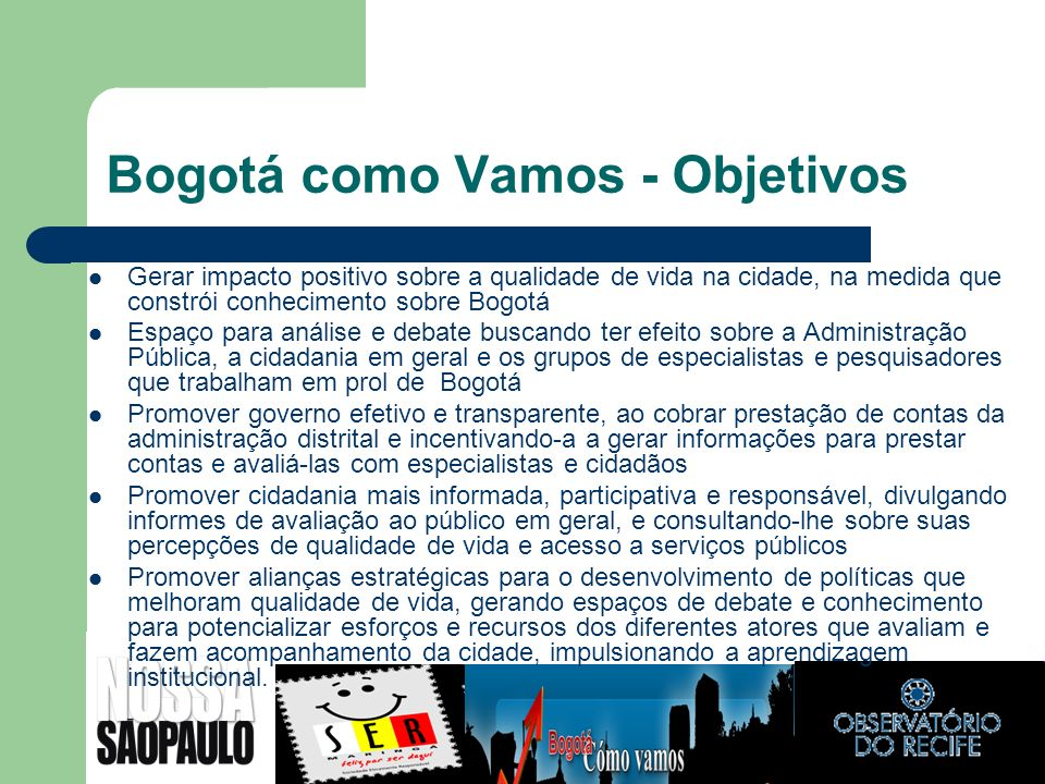 Bogotá como Vamos - Objetivos