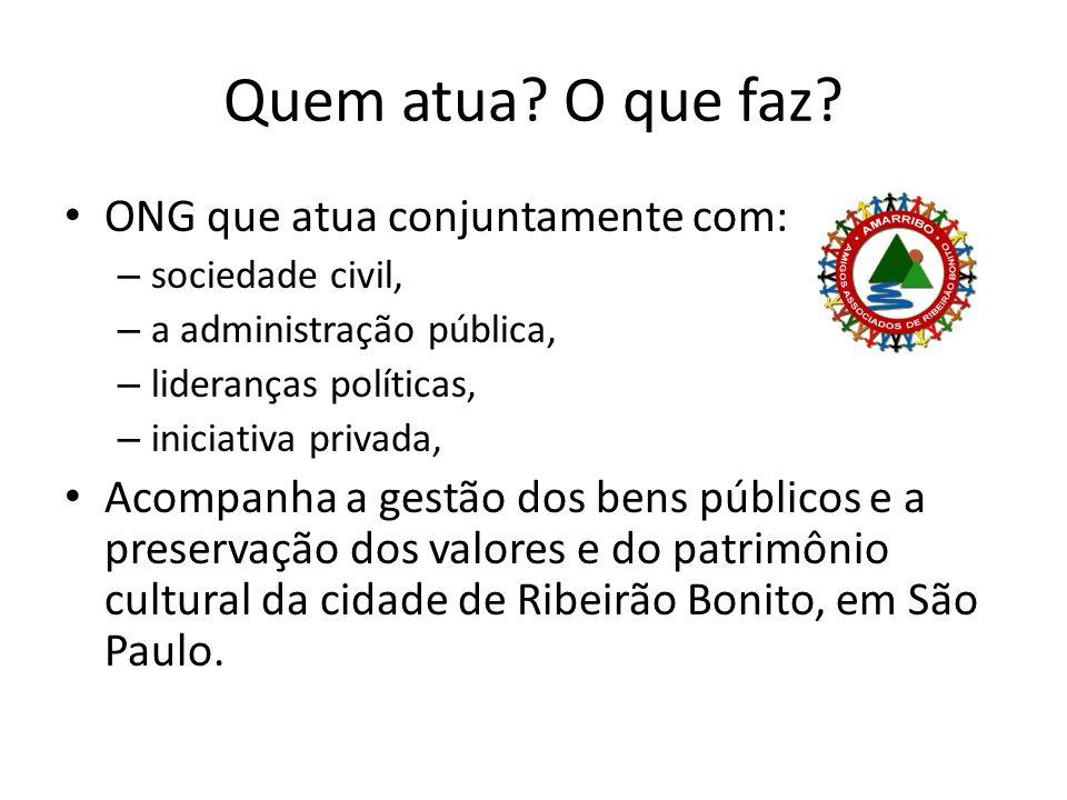 Quem atua O que faz ONG que atua conjuntamente com: