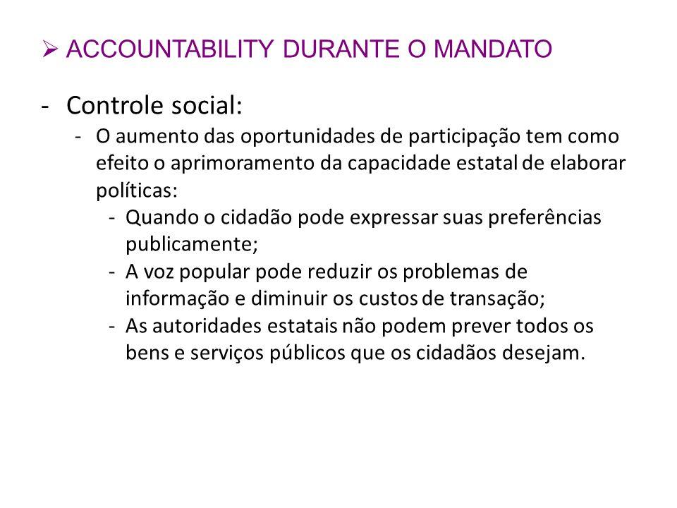 Controle social: ACCOUNTABILITY DURANTE O MANDATO