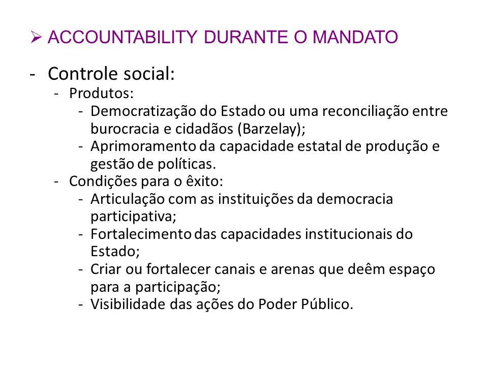 Controle social: ACCOUNTABILITY DURANTE O MANDATO Produtos: