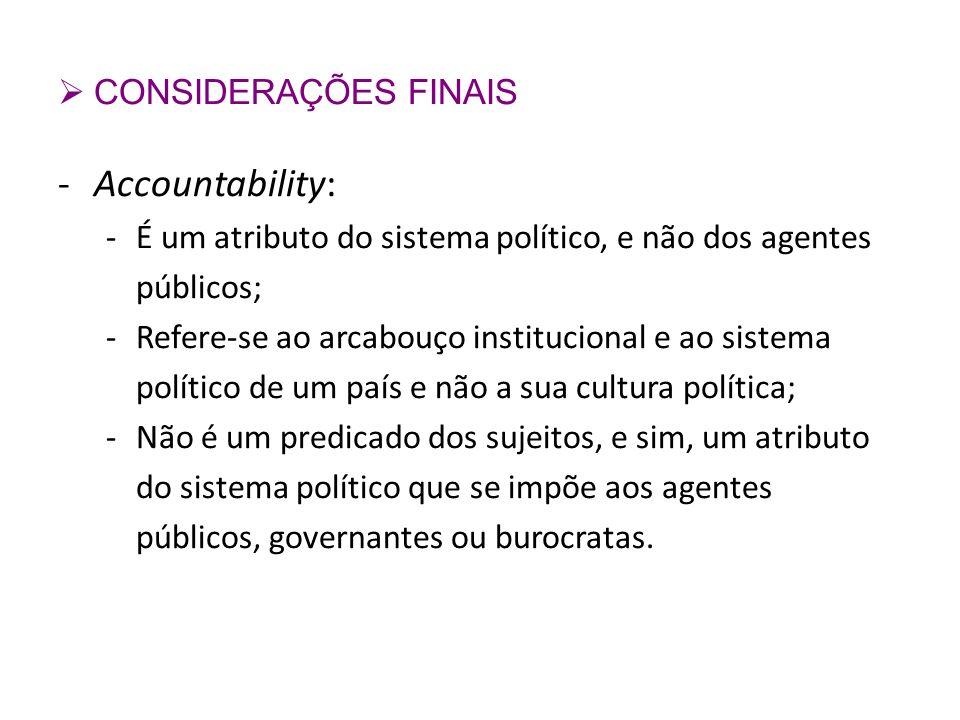 Accountability: CONSIDERAÇÕES FINAIS