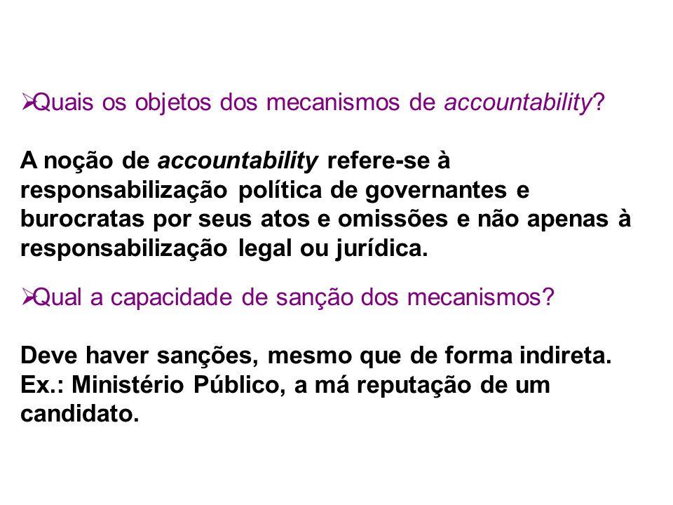 Quais os objetos dos mecanismos de accountability