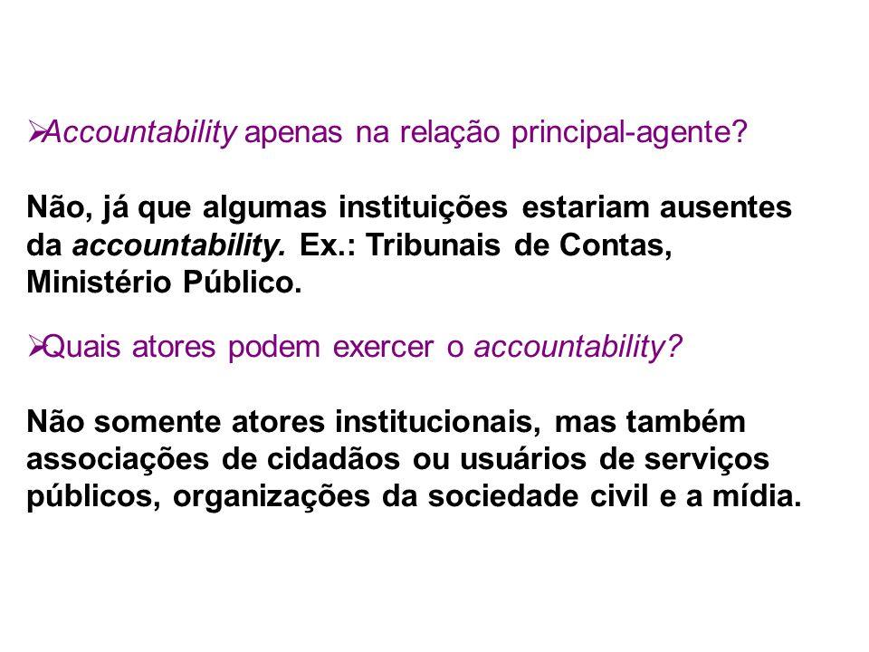 Accountability apenas na relação principal-agente