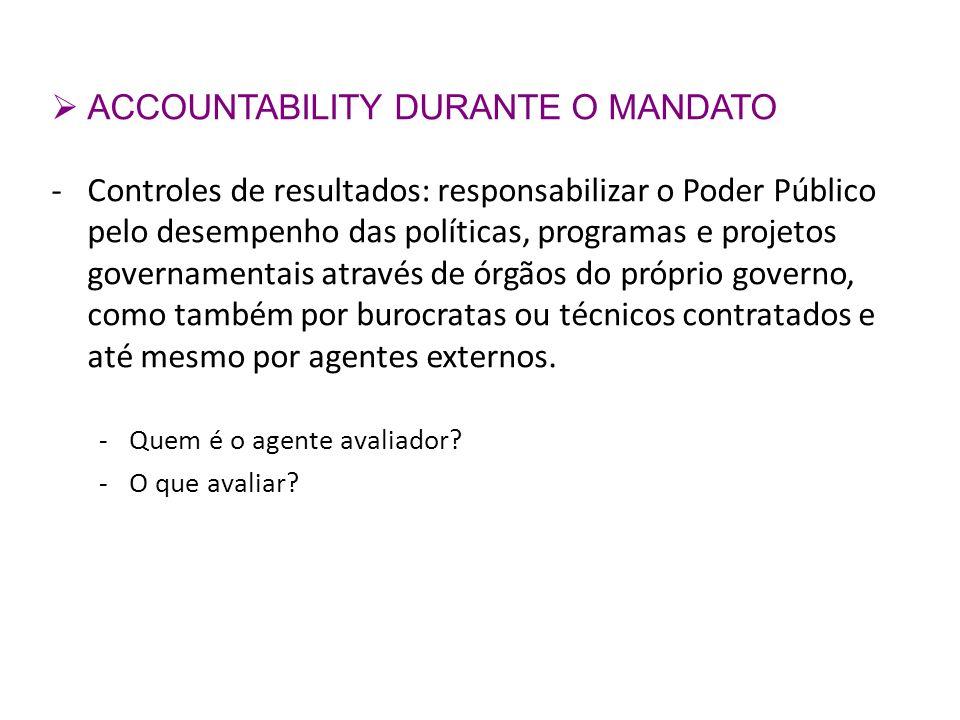 ACCOUNTABILITY DURANTE O MANDATO
