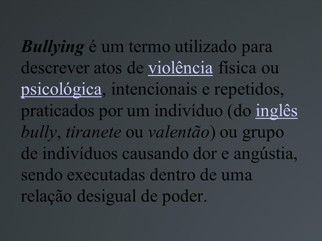 Bullying é um termo utilizado para descrever atos de violência física ou psicológica, intencionais e repetidos, praticados por um indivíduo (do inglês bully, tiranete ou valentão) ou grupo de indivíduos causando dor e angústia, sendo executadas dentro de uma relação desigual de poder.
