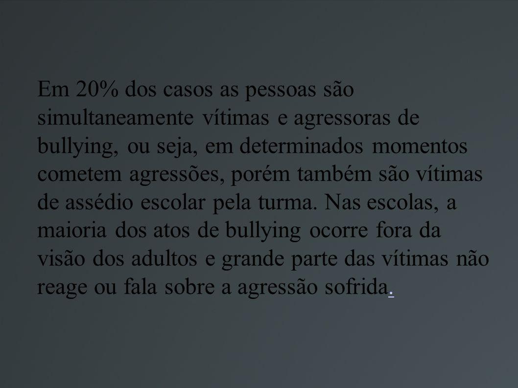 Em 20% dos casos as pessoas são simultaneamente vítimas e agressoras de bullying, ou seja, em determinados momentos cometem agressões, porém também são vítimas de assédio escolar pela turma.