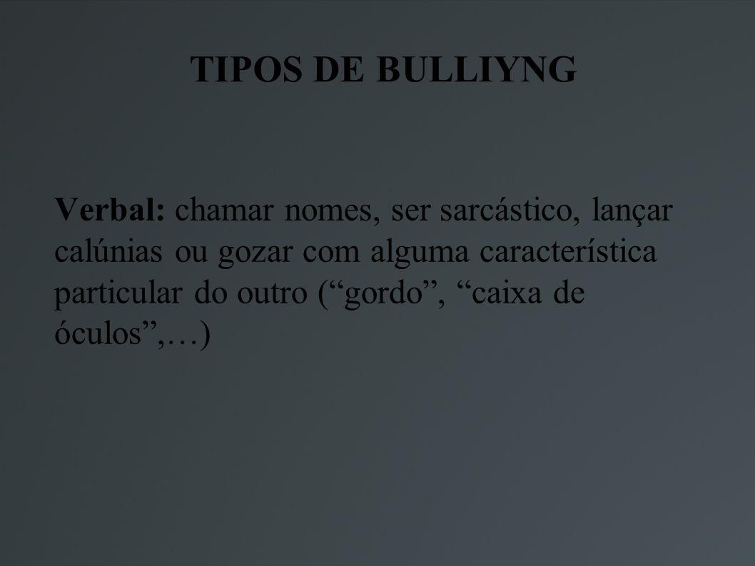 TIPOS DE BULLIYNG