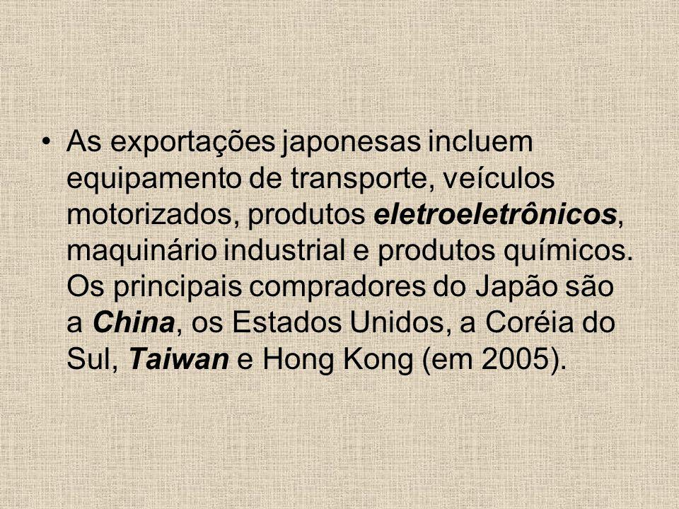 As exportações japonesas incluem equipamento de transporte, veículos motorizados, produtos eletroeletrônicos, maquinário industrial e produtos químicos.