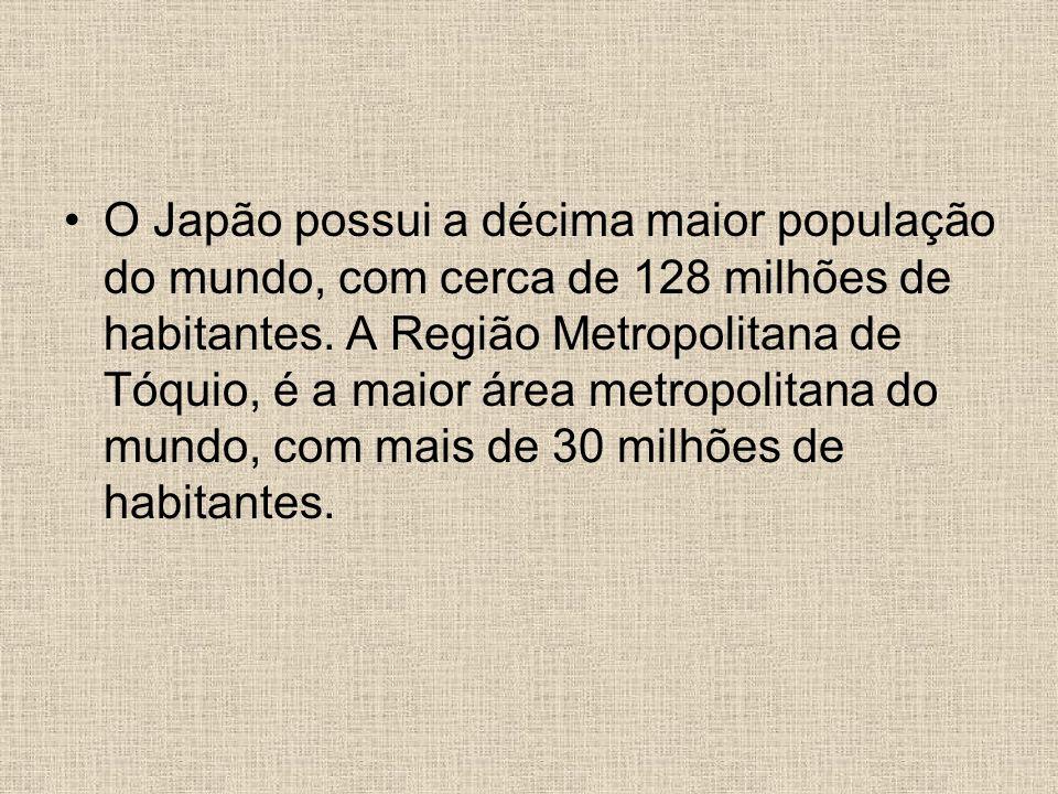 O Japão possui a décima maior população do mundo, com cerca de 128 milhões de habitantes.