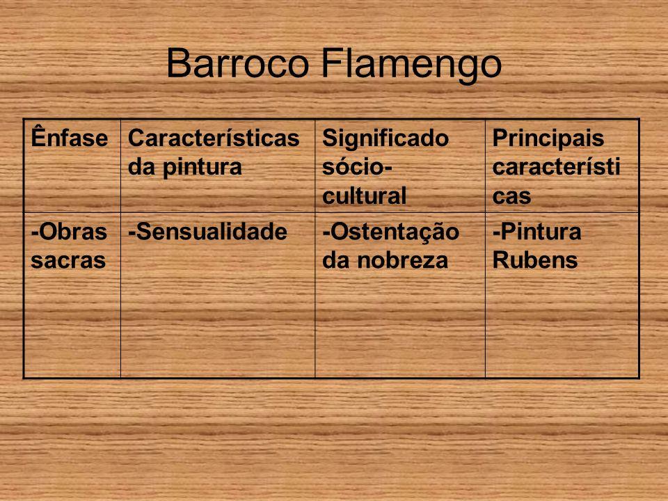 Barroco Flamengo Ênfase Características da pintura