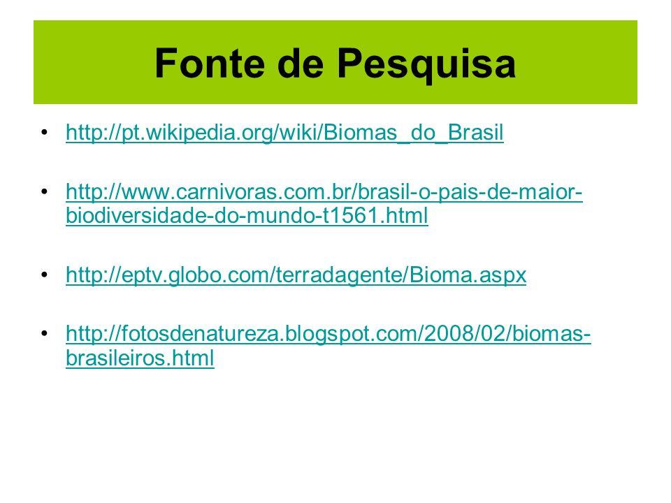 Fonte de Pesquisa http://pt.wikipedia.org/wiki/Biomas_do_Brasil