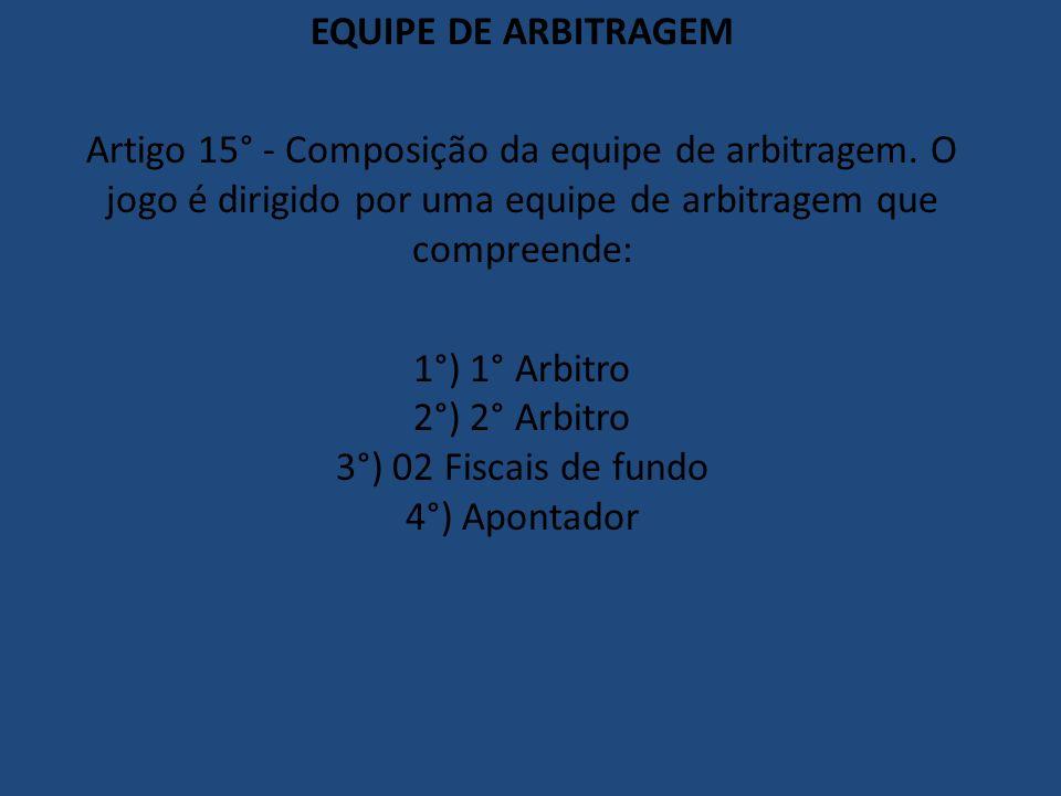 1°) 1° Arbitro 2°) 2° Arbitro 3°) 02 Fiscais de fundo 4°) Apontador