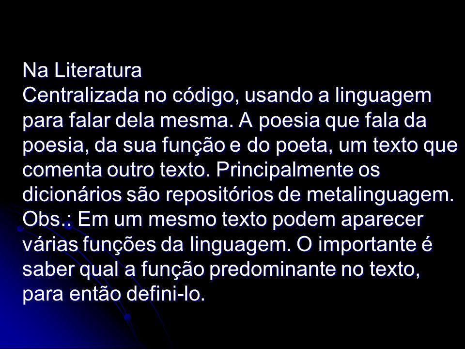 Na Literatura Centralizada no código, usando a linguagem para falar dela mesma.
