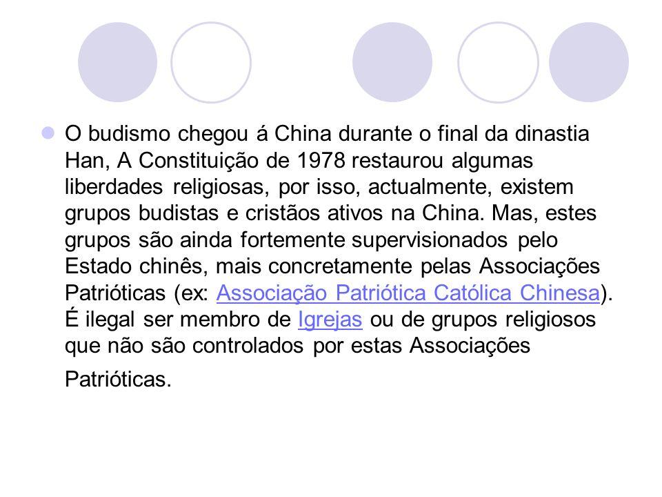 O budismo chegou á China durante o final da dinastia Han, A Constituição de 1978 restaurou algumas liberdades religiosas, por isso, actualmente, existem grupos budistas e cristãos ativos na China.