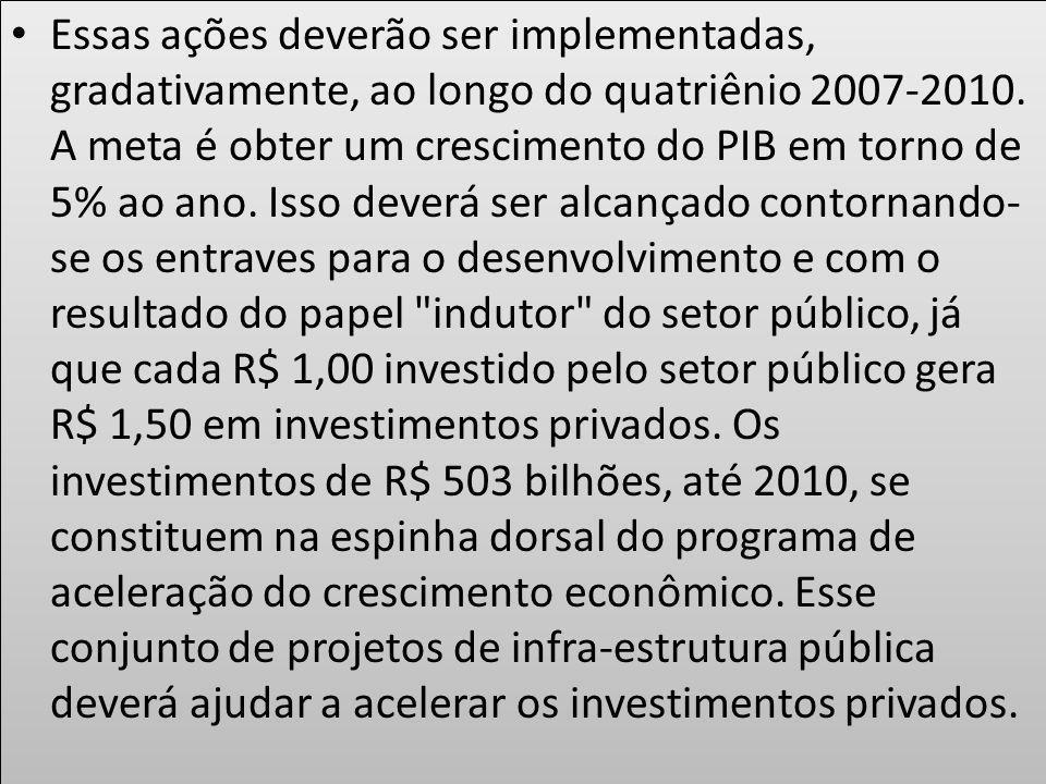 Essas ações deverão ser implementadas, gradativamente, ao longo do quatriênio 2007-2010.
