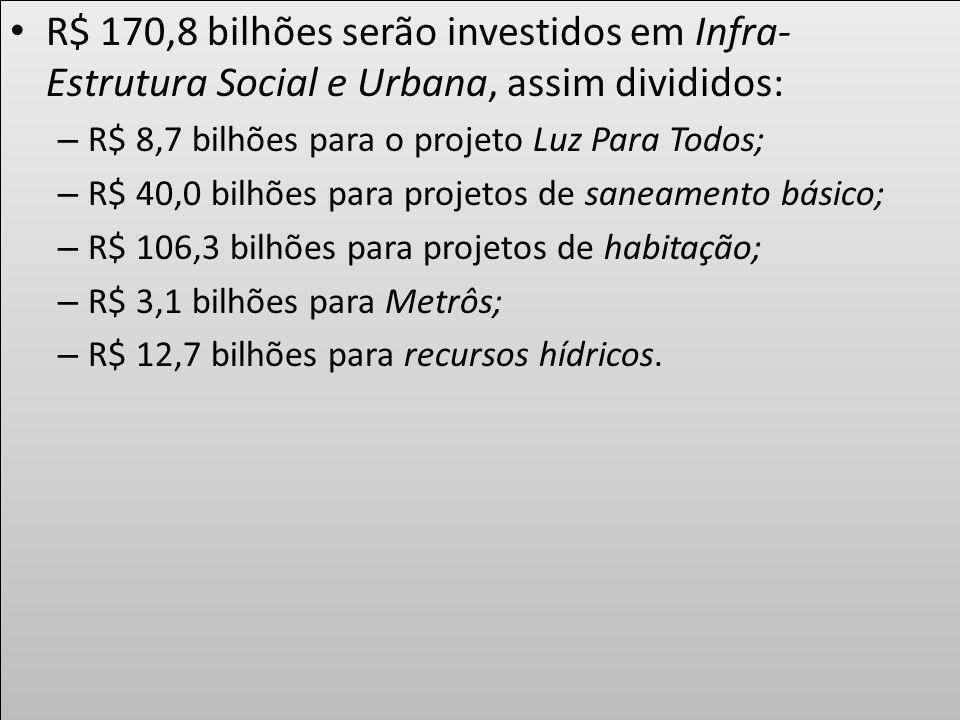 R$ 170,8 bilhões serão investidos em Infra-Estrutura Social e Urbana, assim divididos: