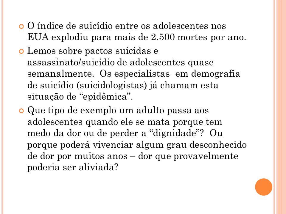 O índice de suicídio entre os adolescentes nos EUA explodiu para mais de 2.500 mortes por ano.