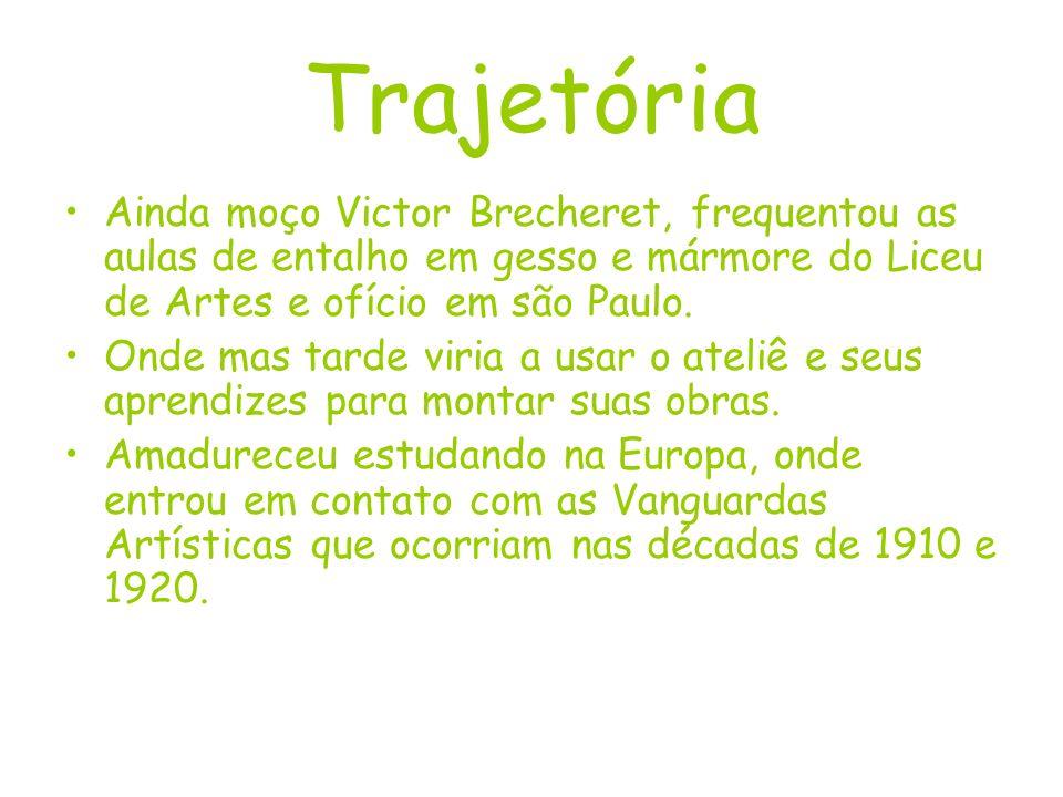 Trajetória Ainda moço Victor Brecheret, frequentou as aulas de entalho em gesso e mármore do Liceu de Artes e ofício em são Paulo.