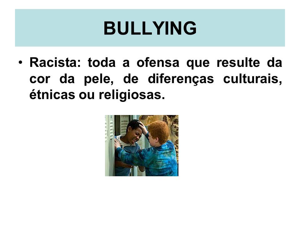 BULLYINGRacista: toda a ofensa que resulte da cor da pele, de diferenças culturais, étnicas ou religiosas.
